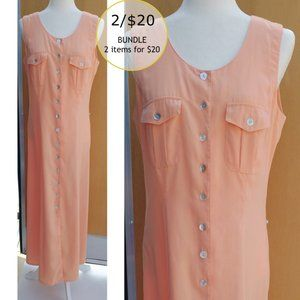 2/$20 Reflections Spiegel Vtg Maxi Shirt Dress Sz8